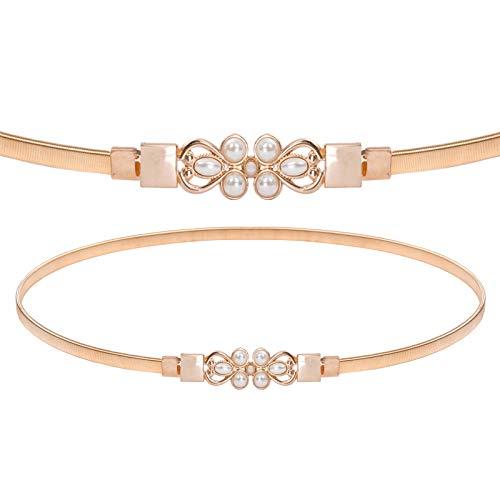 Women Stretchy Belt for Dresses Vintage Elastic Wide Waist Cinch Belt, Gold-Pearl, Large