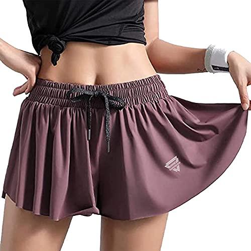 Wsirmet Women's 2-in-1 Double Layer Running Yoga Shorts Quick-Dry Drawstring Waist Flowy Hem Fitness Workout Athletic Shorts Dark Purple