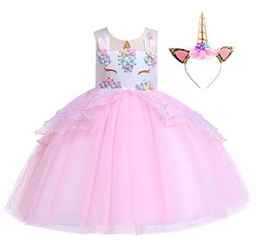 Girls Unicorn Dress Pageant Flower Costume Kids Unicorn Fancy Dress Tutu Ball Gowns Pink With Headband 8-10 Years Tag 150cm
