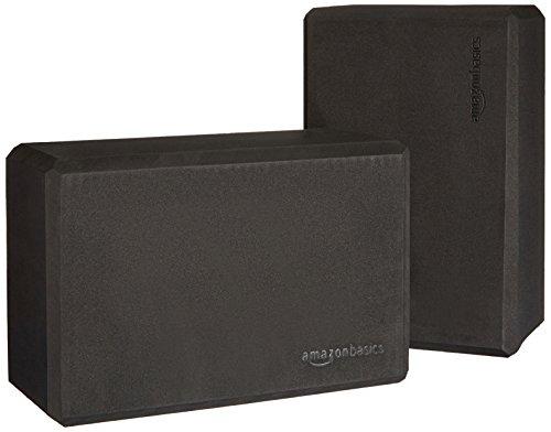 AmazonBasics Foam Yoga Blocks - 4 x 9 x 6 Inches, Set of 2, Black
