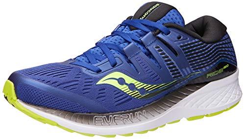 Saucony Men's Ride ISO Running Shoe, Navy/Citron, 12 M US