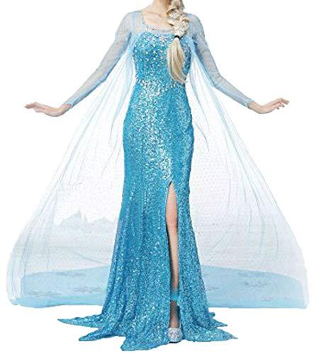 Princess Dress Women Girls Fancy Party Dress Up Halloween Cosplay Costume X-Large Blue