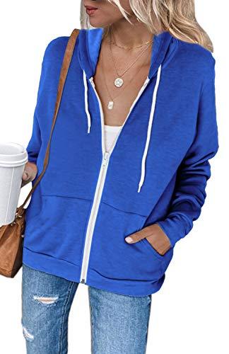 Hoodie Jacket for Women Fall Zipper Casual Thin Coat Loose Athletic Sweatshirt Outwear with Hood Blue L