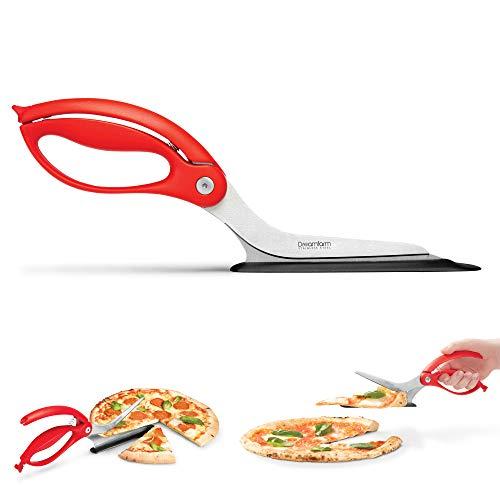 Dreamfarm (Red) Scizza Scissors, Non-Stick Stone Safe Pizza Cutter and Server, 12-Inch