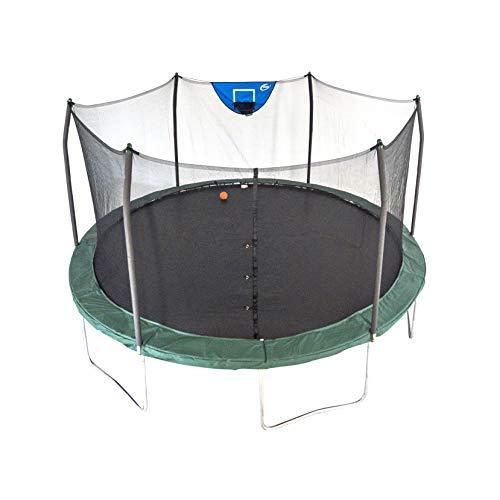 Skywalker Trampolines 15 Foot Jump N Dunk Round Trampoline with Enclosure-Basketball- Green