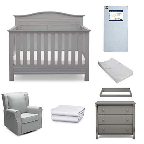 Serta Barrett 7-Piece Nursery Furniture Set - Convertible Crib, Dresser, Changing Top, Changing Pad, Crib Mattress, Glider, Crib Sheets - Grey