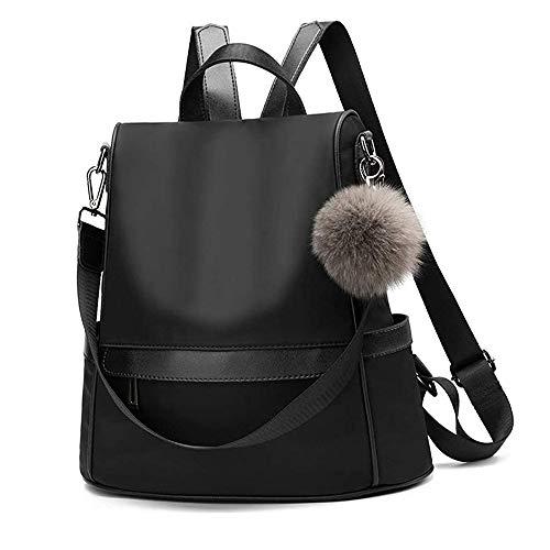 Women Backpack Purse Nylon Anti-theft Fashion Casual Lightweight Travel School Shoulder Bag(Black )