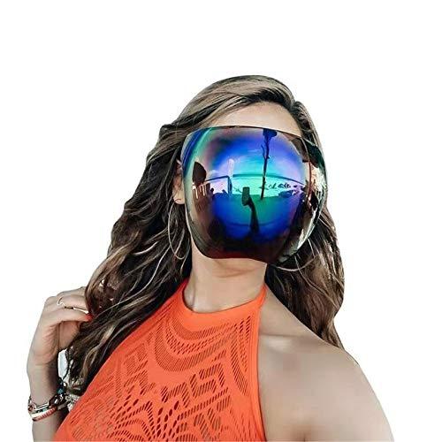 Oversized Huge Big Shield Full Face Polarized Large Mirror Sunglasses, Face Shield Mirrored Visor Glasses/sunglasses for Men Women, Ideal for Long Term Wear Reusable Sunglasses