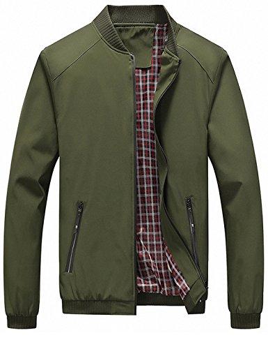 Lentta Men's Casual Slim Lightweight Softshell Zipper Windbreakers Bomber Jacket (Small, Army Green001)