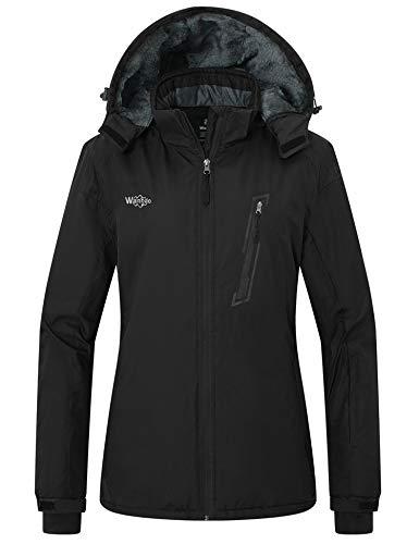 Wantdo Women's Mountain Waterproof Snow Jacket Cotton Padded Raincoat Black XL