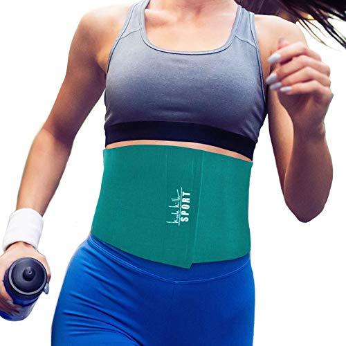 Nicole Miller Waist Trainer for Women 10' Sweat Belt Waist Trimmer Stomach Wraps for Weight Loss Exercise Equipment Adjustable Belt - Teal