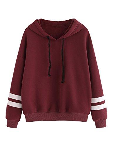 SweatyRocks Women's Sweatshirts Pullover Fleece Drop Shoulder Striped Hoodie Burgundy XL