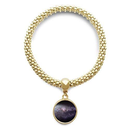 DIYthinker Elliptical Cosmic Nebula Universe Pattern Golden Bracelet Round Pendant Jewelry Chain