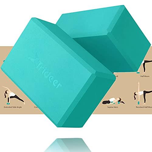 Trideer Yoga Blocks, Yoga Blocks 2 Pack, Premium EVA Foam with Free Guide, Supportive, Lightweight & Odor Resistant, Yoga Essentials for Yogi & Yogini, 9'x6'x4' (Turkis)