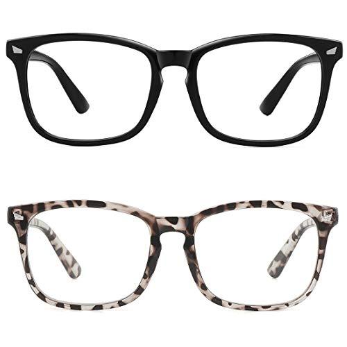 MEETSUN Blue Light Blocking Glasses, Anti Eye Strain Headache (Sleep Better),Computer Reading Glasses UV400 Transparent Lens (2 Pack Black +Leopard lens, 53)
