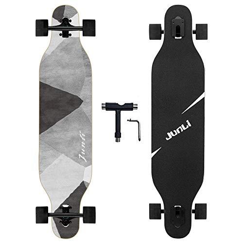 Junli 41 Inch Freeride Longboard Skateboard - Skateboard Cruiser for Cruising, Carving and Downhill(Grey Zone)