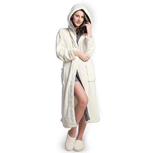 Hooded Women's Cream color Soft Spa Long Kimono Bathrobe with Grey Shawl Collar For Comfy Sleepwear (S)