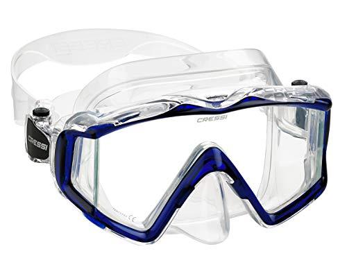 Cressi Italian Designed Pano 3 Panoramic View Tempered Glass Lens Premium Scuba Snorkeling Dive Mask, Clear Cobalt Blue