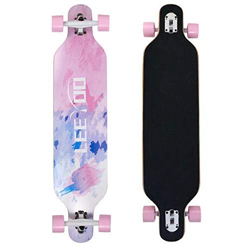 Leeyoo Longboard Skateboard, 41 Inch 8 Layer Natural Maple Drop Through Longboards for Kids Boys Girls Youths Beginners.
