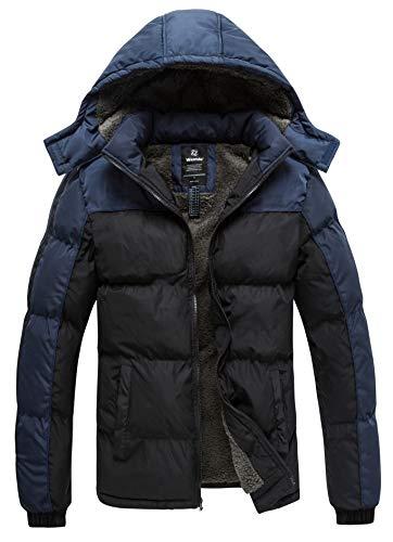 Wantdo Men's Windproof Padded Cotton Jacket Winter Coat with Hood Black&Blue XL