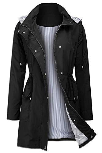 Arthas Women Rain Jacket Waterproof Active Outdoor Trench Raincoat with Hooded Lightweight Black, Large
