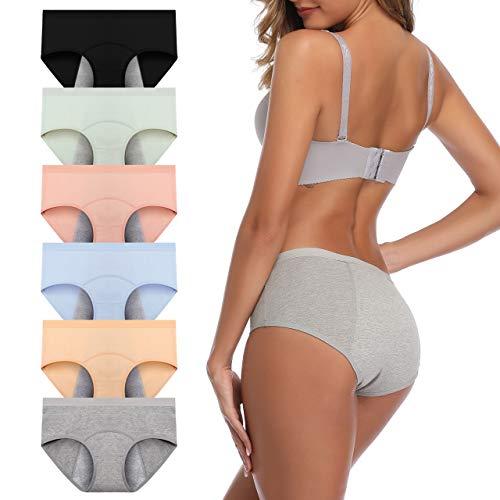 JojoQueen Women's Cotton Underwear,Mid Waist Solid Color Ladies Underwear Briefs Multipack Menstrual Panties for Women, Light Color-6pack, Large