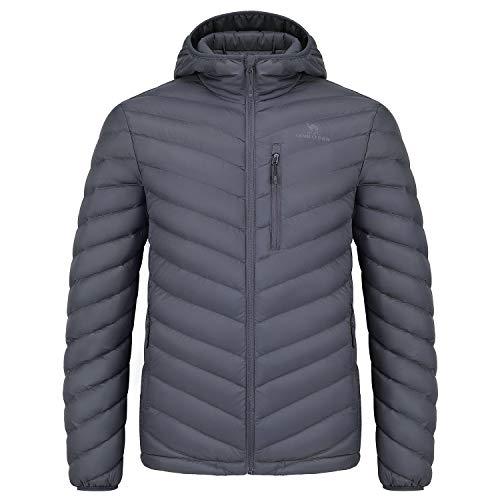 CAMEL CROWN Men/Women Hooded Down Jacket Packable Puffer Coat Lightweight Water-Resistant Outwear for Unisex Grey M