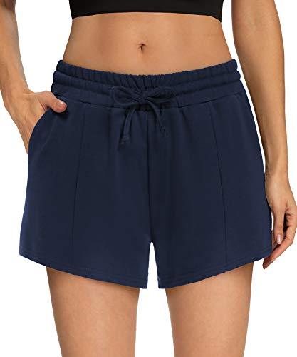 ZJCT Womens Shorts Casual Summer Yoga Workout Athletic Shorts Comfy Loose Drawstring Lounge Pajama Sweat Shorts with Pockets Navy-L