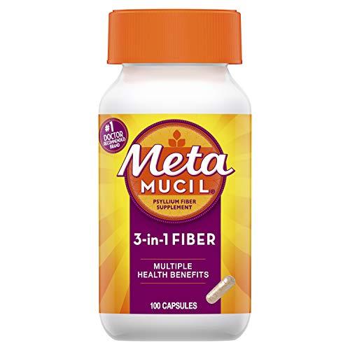 Metamucil, Psyllium Husk Fiber Supplement, 3-in-1 Fiber for Digestive Health, Plant Based, 100 Capsules (Pack of 2)