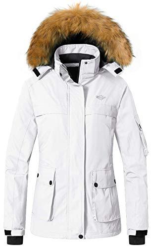 Wantdo Women's Winter Ski Jacket Mountain Insulated Rainwear Windproof White XL
