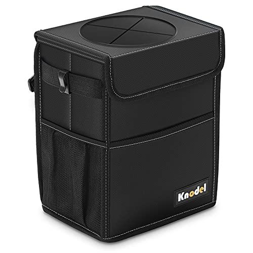 K KNODEL Car Trash Can, Waterproof Auto Garbage Bag, Car Trash Can with Lid, Leak-Proof Car Storage Bag, Auto Garbage Bag Hanging (Medium, Black)