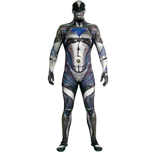 Official Black Deluxe Movie Power Ranger Morphsuit Fancy Dress Costume - size Medium 4'7-5'2 (138cm - 158cm)