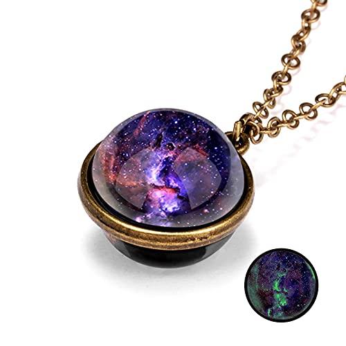 xinghaikuajing Stylish New Galaxy Nebula Cosmic Night Light Double-Sided Retro Pendant Necklace Creative Cosmic Sky Necklace NC18Y0750-1