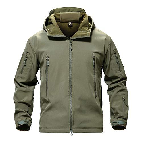 TACVASEN Men Windproof Softshell Tactical Hoodie Fleece Hunting Jacket Coat Army Green,US 2XL