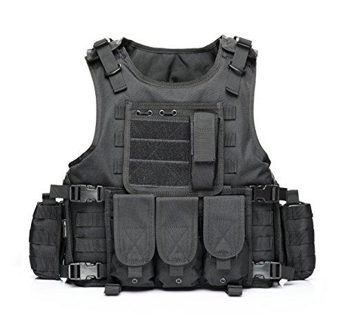 vAv YAKEDA Tactical Vest Military Chest Rig Airsoft Swat Vest for Men (Black-1)