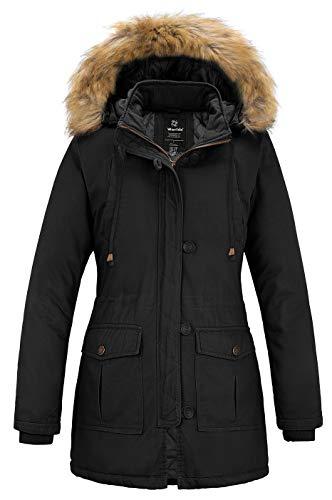 Wantdo Women's Cotton Thicken Padded Parka Winter Jacket Hooded Coat(Black, M)