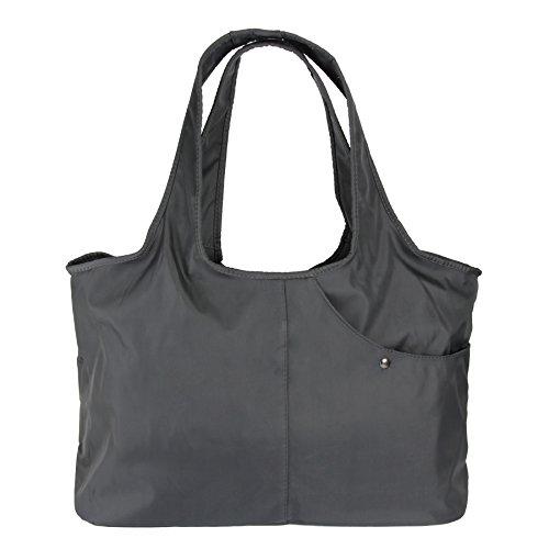 ZOOEASS Women Fashion Large Tote Shoulder Handbag Waterproof Tote Bag Multi-function Nylon Travel Shoulder(Grey)