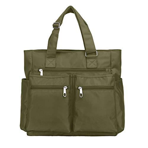 Canvas Tote Bag Waterproof Nylon Multi Pocket Shoulder Bags Laptop Work Bag Teacher Purse and Handbags for Women & Men (Army Green)