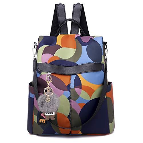 Fashion Backpack for Women Waterproof Rucksack Daypack Anti-theft Shoulder Bag Handbag Casual Travel Bag Hiking Backpack Purse with Pom Pom Keychain