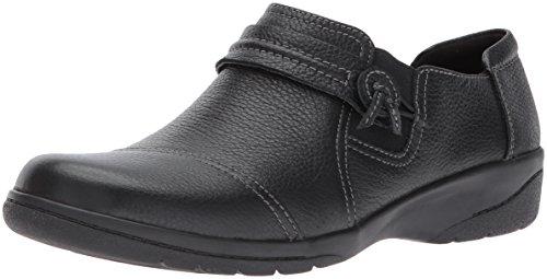 Clarks Women's Cheyn Madi Loafer, Black Tumbled Leather, 10 W US