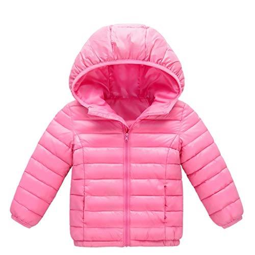Mousmile Kids Boys Girls Lightweight Puffer Jacket Winter Warm Cotton Padded Jacket Zip Up Hooded Coat Outwear w/Pocket (Pink, 2-3 Years)