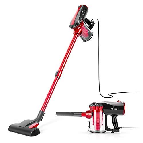 MOOSOO Vacuum Cleaner Corded Stick Vacuum with HEPA 17Kpa Powerful Suction 2 in 1 Handheld Vacuum for Hard Floor D600