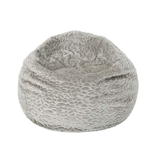 Christopher Knight Home Laraine Furry Glam Grey Pebble Pattern Faux Fur 3 Ft. Bean Bag