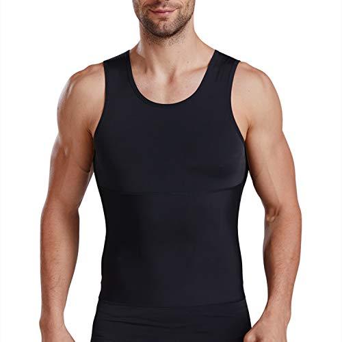 ISUP Mens Slimming Body Shaper Compression Tank Top Undershirt Shapewear Black