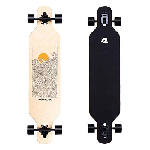 Retrospec Rift Drop-Through Longboard Skateboard Complete | Canadian Maple Wood Cruiser w/ Drop-Through Trucks for Commuting, Cruising, Carving & Downhill Riding