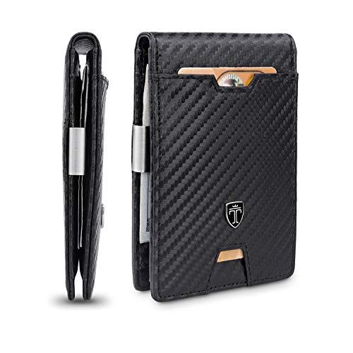 TRAVANDO Slim Wallet with Money Clip AUSTIN RFID Blocking Card Mini Bifold Men (Carbon, Carbon)