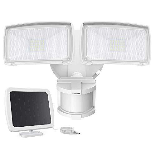 LEPOWER 1000LM Solar LED Security Lights Outdoor, 2 Adjustable Head Solar Motion Sensor Light, 5500K White Light, IP65 Waterproof Solar Flood Light for Garage, Yard, Patio(White)