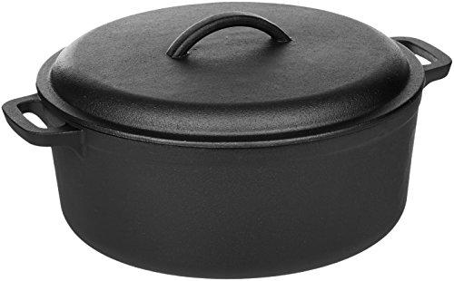 AmazonBasics Pre-Seasoned Cast Iron Dutch Oven Pot with Lid and Dual Handles, 7-Quart