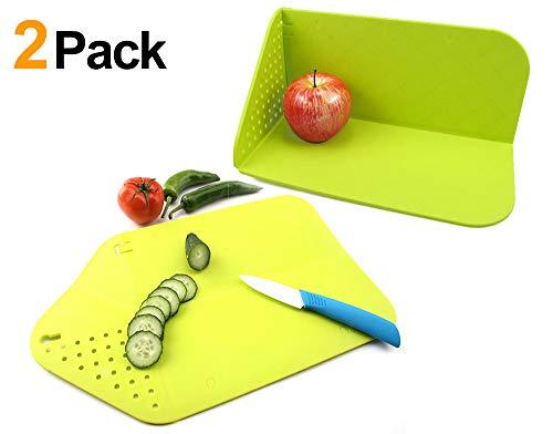 Xergur Flexible Foldable Cutting Boards - Rinse & Strainer Foldable Cutting Board, 3 In 1 Multi-Function Veggies & Fruit Cutting Board Non-Slip Tasteless (2PCS Green)