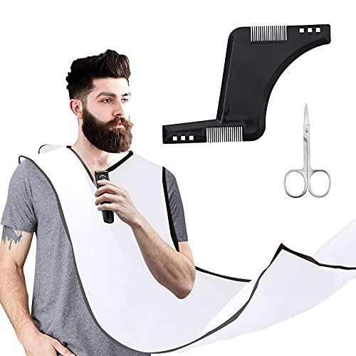 Beard Bib Beard Apron, Waterproof Shaving Apron Beard Beard Hair Catcher Non-Stick Beard Cape Grooming Cloth for Husband Dad Shaving Trimming Grooming with 2 Suction Cups Hair Comb and Scissors